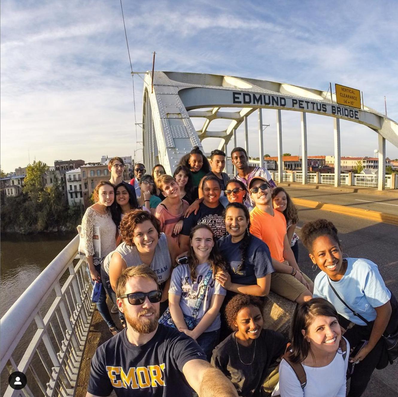 group of Emory students on Edmund Pettus Bridge in Selma, AL