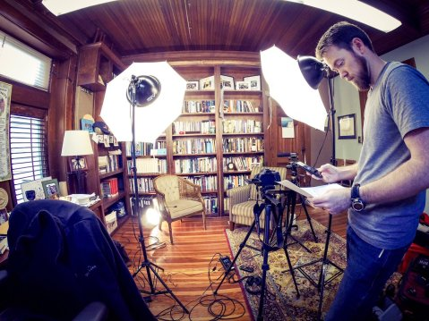 filming setup at Lyn Pace's office